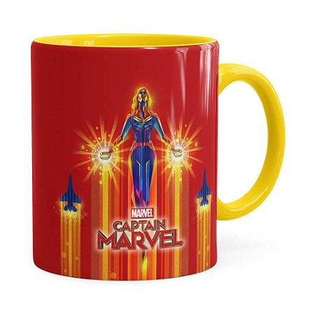 Caneca Capitã Marvel Filme v02 Amarela