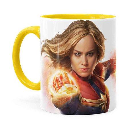 Caneca Capitã Marvel Filme v07 Amarela