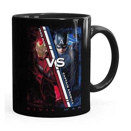 Caneca Capitão América VS Homem de Ferro Guerra Civil Preta
