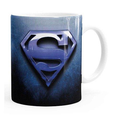 Caneca Superman Logo Metálico Branca