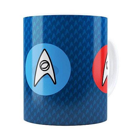 Caneca Star Trek Comando, Engenharia e Ciência Branca