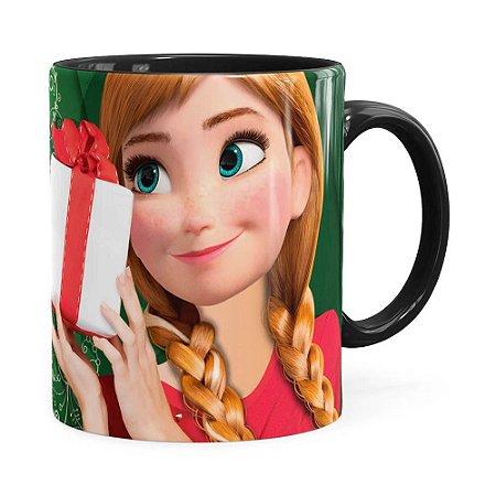 Caneca Feliz Natal Frozen Anna v02 Preta