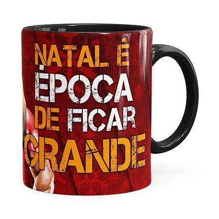 Caneca Natal Fitness Época de Ficar Grande v01 Preta