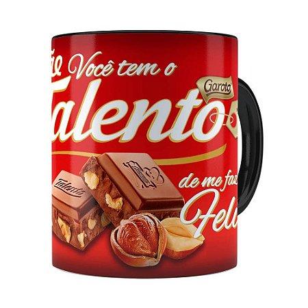 Caneca Chocolate Talento Mamae Preta