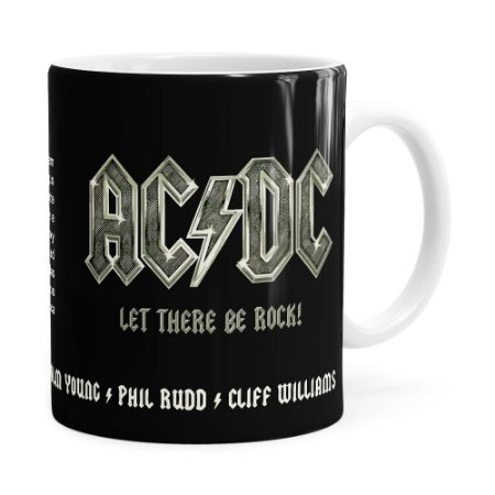 Caneca AC DC Let There Be Rock Branca