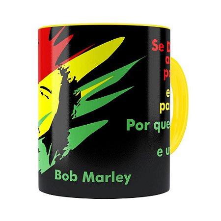 Caneca Bob Marley Se Deus Criou Amarela
