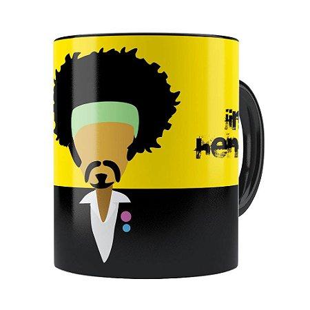 Caneca Jimi Hendrix Minimalista Preta