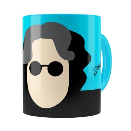 Caneca John Lennon Minimalista Azul Claro