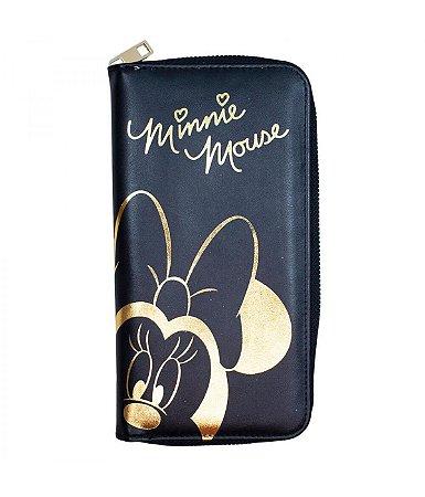 Carteira Minnie Preta com Dourado