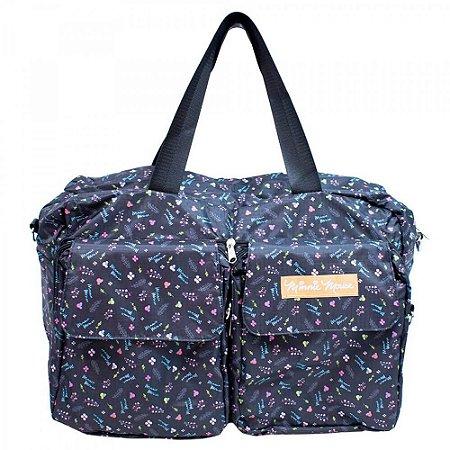 Bolsa Dobrável Minnie Preta Flores 46X37cm