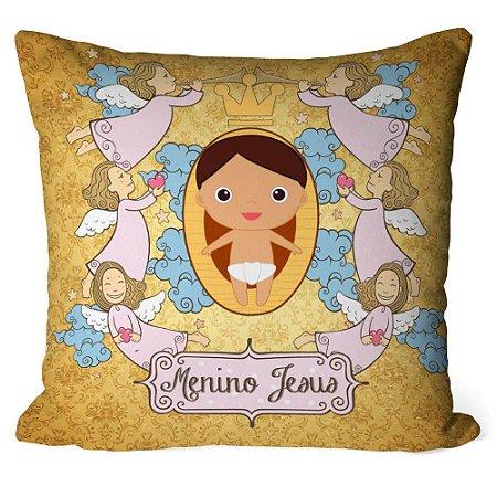 Almofada Anjos Menino Jesus Dourada