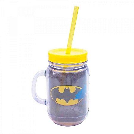 Caneca Batman De Plástico Com Canudo 420ml