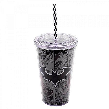 Copo Batman Com Tampa e Canudo 450ml