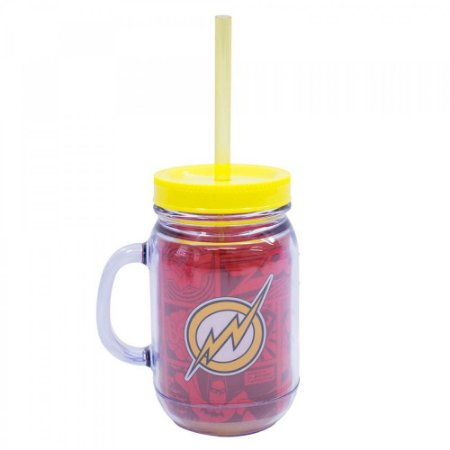 Caneca Flash Com Tampa E Canudo 420ml