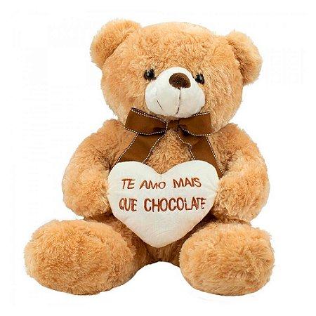 Pelúcia Urso Coração Amo Mais que Chocolate 39cm