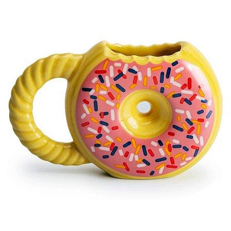 Caneca 3D Donuts Rosquinha Amarela Cerâmica 400ml