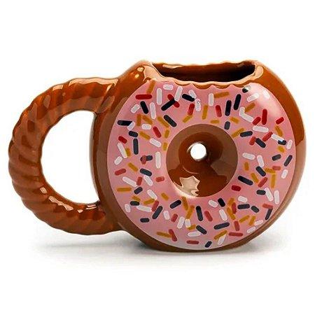 Caneca 3D Donuts Rosquinha Marrom Cerâmica 400ml