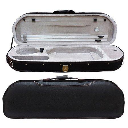 Estojo Extra Luxo Térmico Meia Lua para Violino 4/4 Com Higrômetro - Cinza