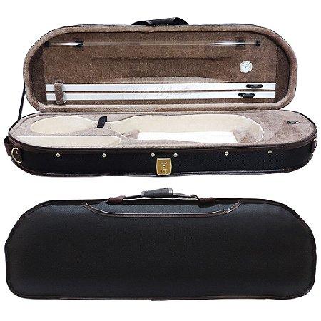 Estojo Extra Luxo Térmico Meia Lua para Violino 4/4 Com Higrômetro - Marrom e Creme