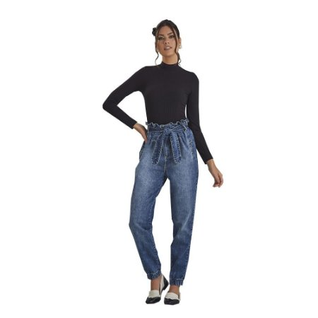 Calça D'Metal Jeans Clochard Com Amarração