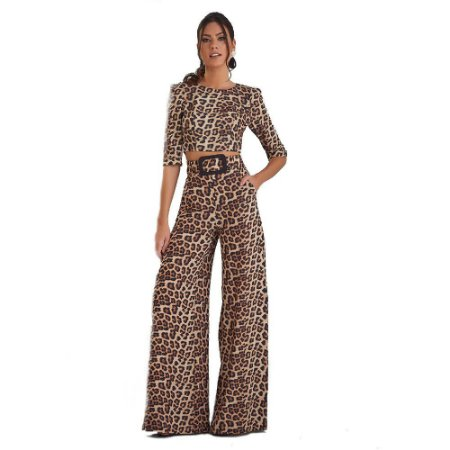 Pantalona D'Metal Onça C/ Cinto Coberto