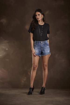 SHORT JEANS CURTO FIVE POCKETS LAV. MÉDIA