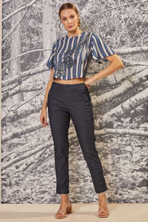 BLUSA CROPPED LISTRA TOILE