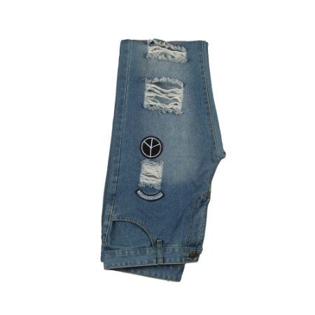 CALÇA JEANS SEM MARCA DESTROYED BADGES