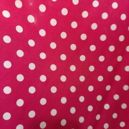 Viscose Póa Pequeno 1cm Fundo Pink 1,50mt de Largura