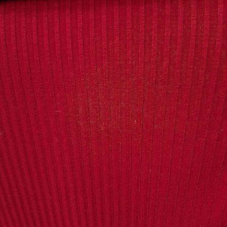 Malha Canelada de Viscose Cor Vermelho 1,30mt de Largura