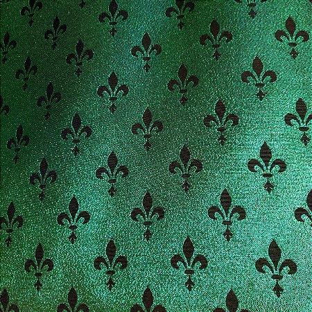 Jacquard Atlanta Lurex Preto/Verde 2,80mt de Largura