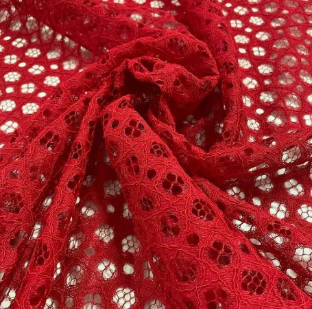 Renda Rope Lace cor Vermelho Vivo 1,50mt de Largura