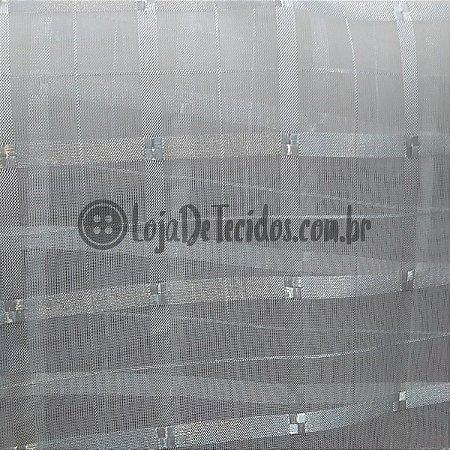 Voil Trabalhado Transparente Branco 3m de Largura