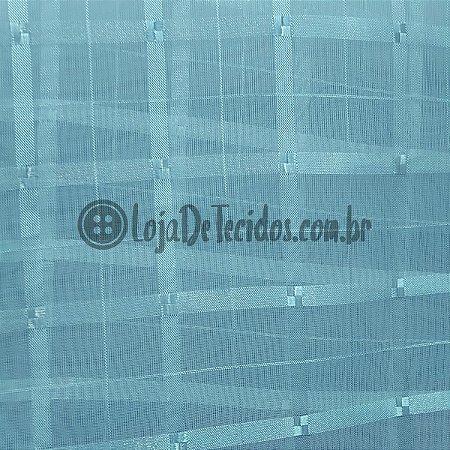 Voil Trabalhado Transparente Azul Turquesa 3mt de Largura