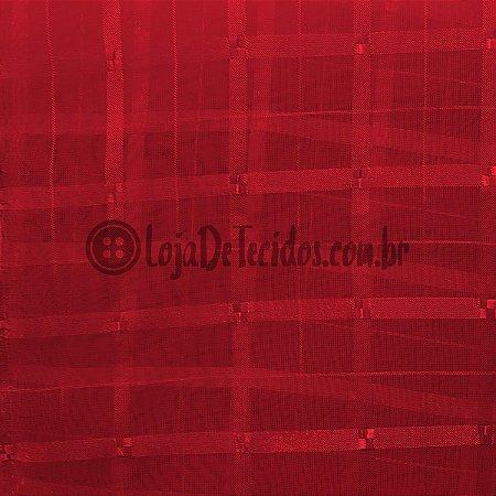 Voil Trabalhado Transparente Vermelho 3m de Largura