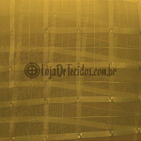 Voil Trabalhado Transparente Ouro Velho 3mt de Largura
