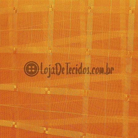 Voil Trabalhado Transparente Laranja 3m de Largura