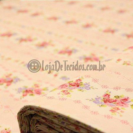 Tricoline Estampado Floral Lilás e Rosa