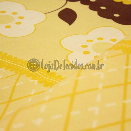 Tricoline Estampado Floral Amarelo e Marrom