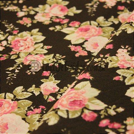 Tricoline Estampado Floral Rosa e Preto