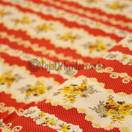 Tricoline Estampado Floral Amarelo com Vermelho