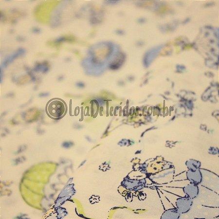 Tricoline Estampado Bebê Azul Claro