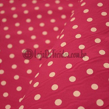 Tricoline Estampado Poá Branco e pink