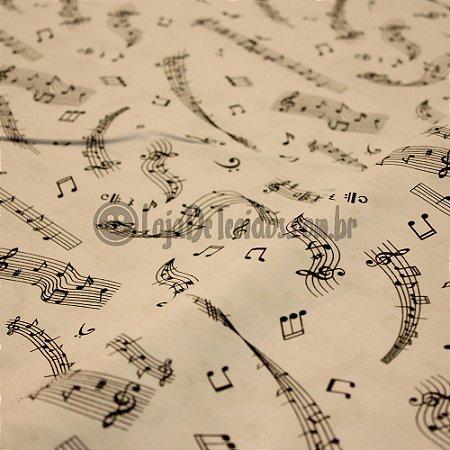 Tricoline Estampado Musical Preto e Fundo Branco