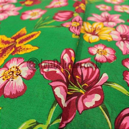 Chita Estampada Floral Verde 1,50mt de Largura