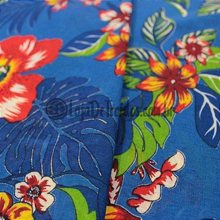 Chita Estampada Floral Azul e Verde 1,50m de Largura
