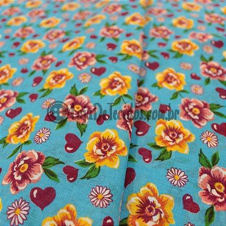Chita Estampada Floral Amarelo e Azul 1,50m de Largura