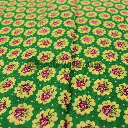 Chita Estampada Floral Verde e Verde Água 1,50m de Largura