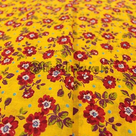 Chita Estampada Amarelo Flores Vermelhas 1,50m de Largura