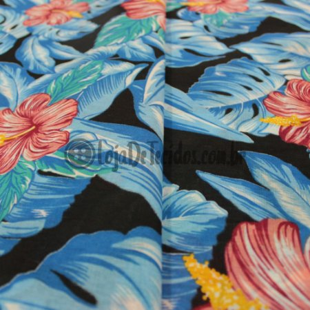 Chita Estampada Floral Preto e Azul 1,50m de Largura